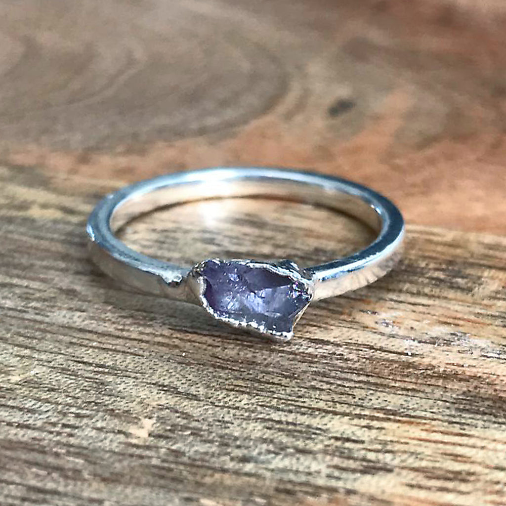 Silver Plate Amethyst Stacking Ring, UK M 1/2 US 6 1/2