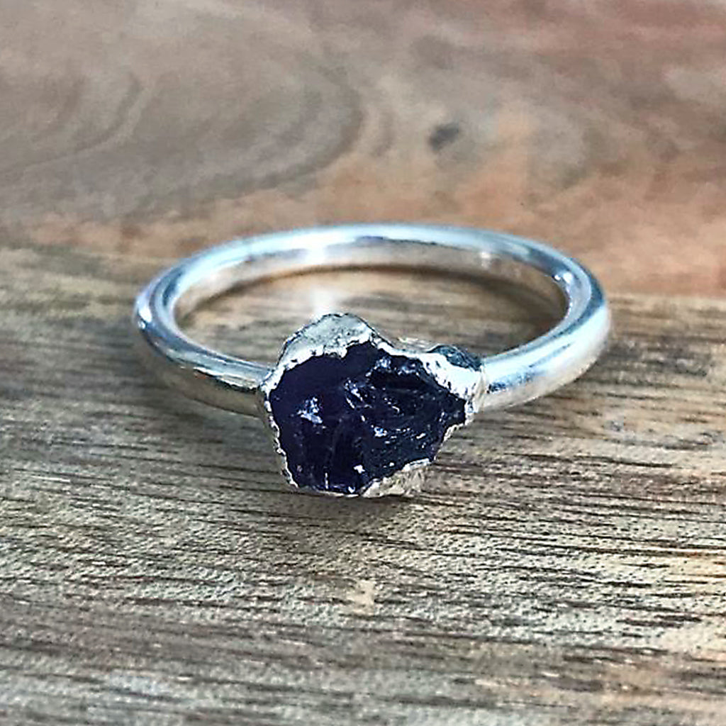 Silver Plate Amethyst Stacking Ring, UK Q, US 8