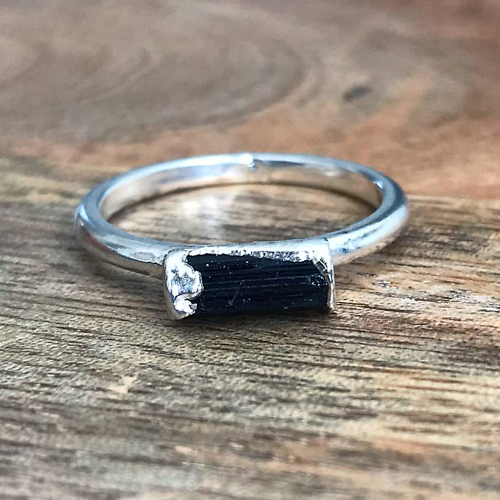 Silver Plate Black Tourmaline Stacking Ring UK M, US 6 1/4