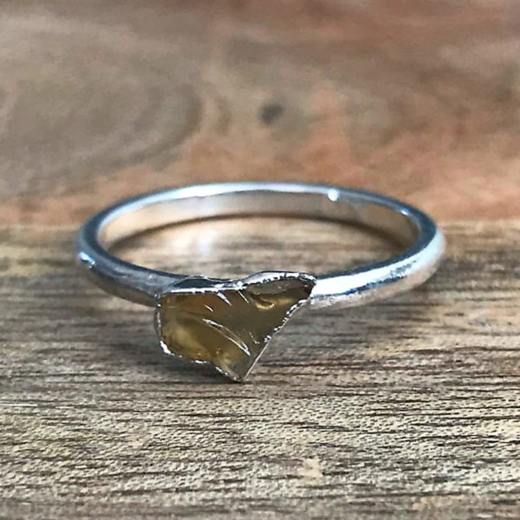 Silver Plate Citrine Stacking Ring, UK P, US 7 1/2