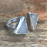 Silver plate Druzy double ring, UK M, US 6