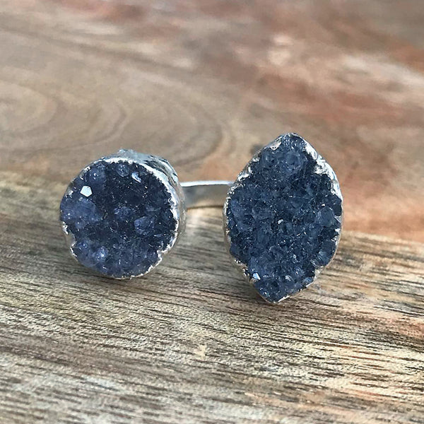 Sterling silver plate druzy double ring, UK I