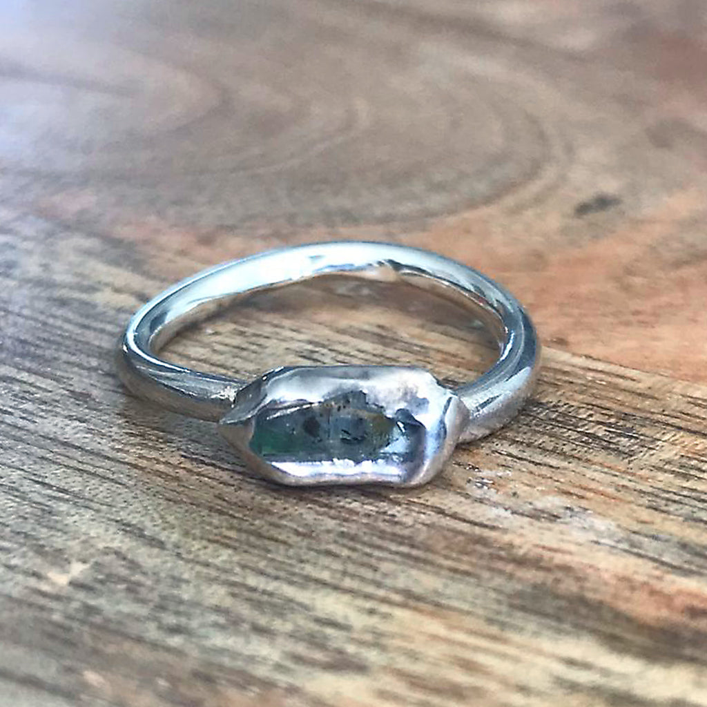 Silver Plate Herkimer Diamond Stacking Ring, UK I 1/2, US 4 1/2