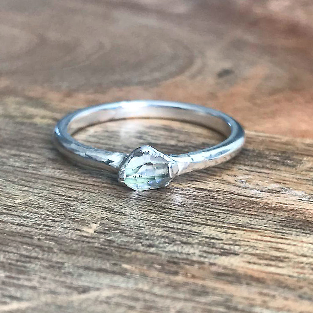 Silver Plate Herkimer Diamond Stacking Ring, UK M 1/2, US 6 1/2