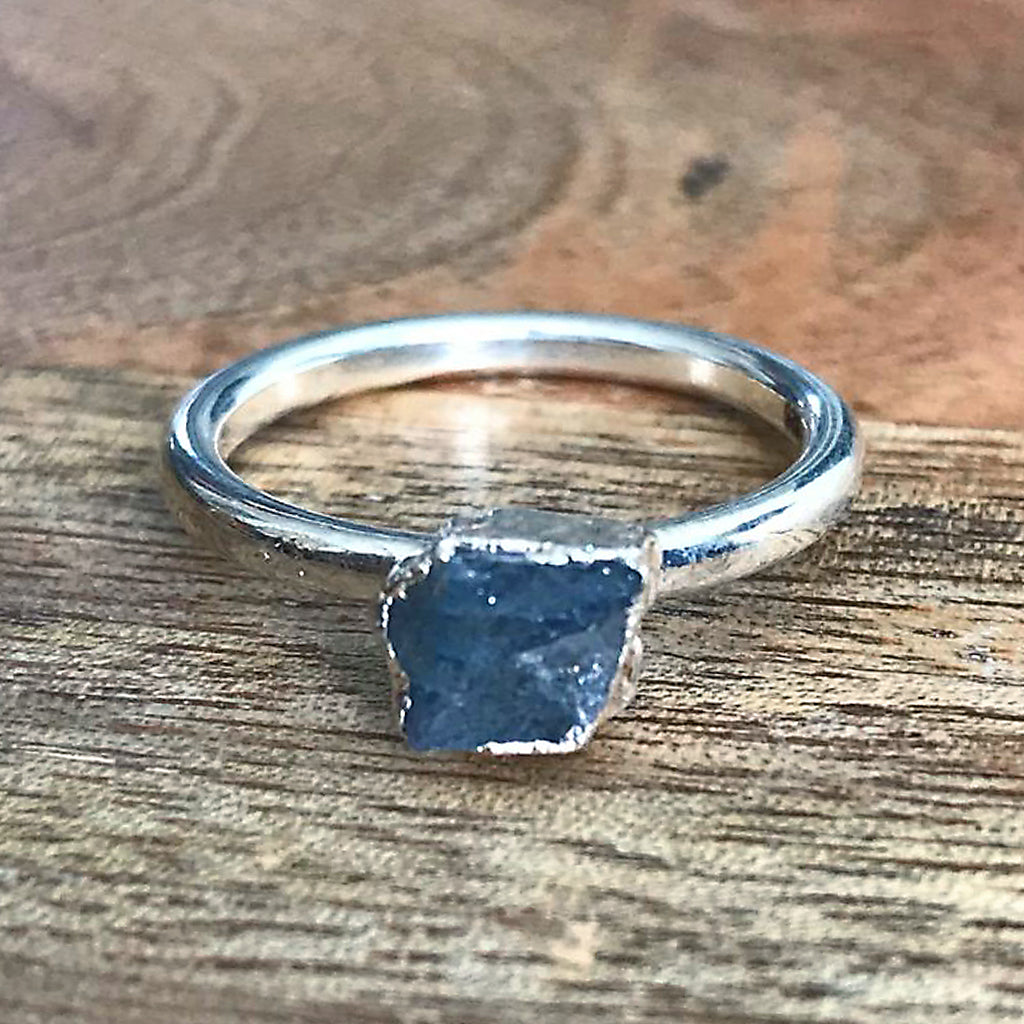Silver Plate Labradorite Stacking Ring, UK O, US 7