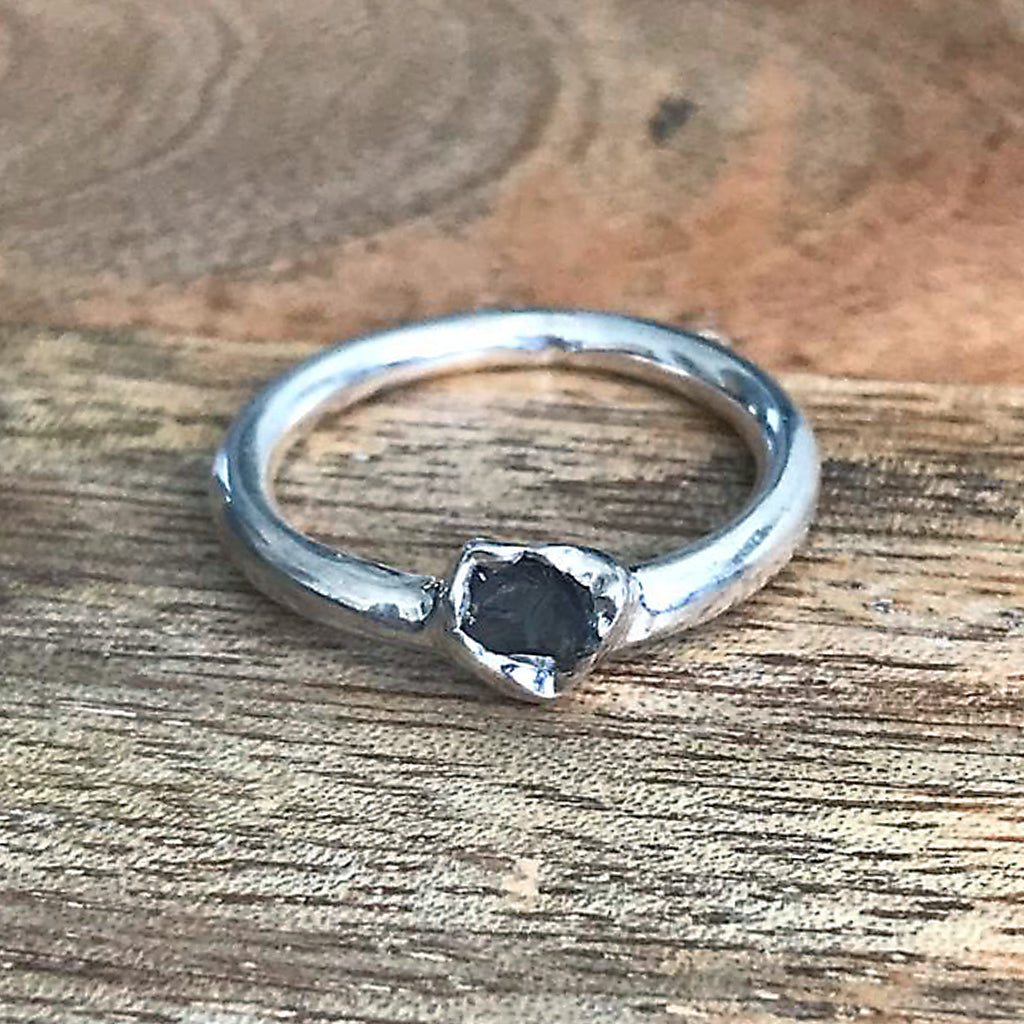 Silver Plate Smoky Quartz Stacking Ring, UK K 1/2 US 5 1/2