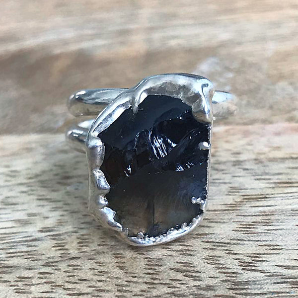 Silver plate adjustable SMOKY QUARTZ ring, UK N - P, US 6 1/2 - 8