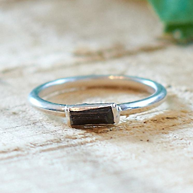 Sterling Silver Plate Black Tourmaline Stacking Ring, Size O 1/2