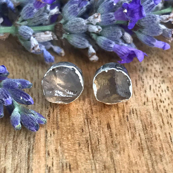 Silver Rose Quartz Infinity Stud Earrings