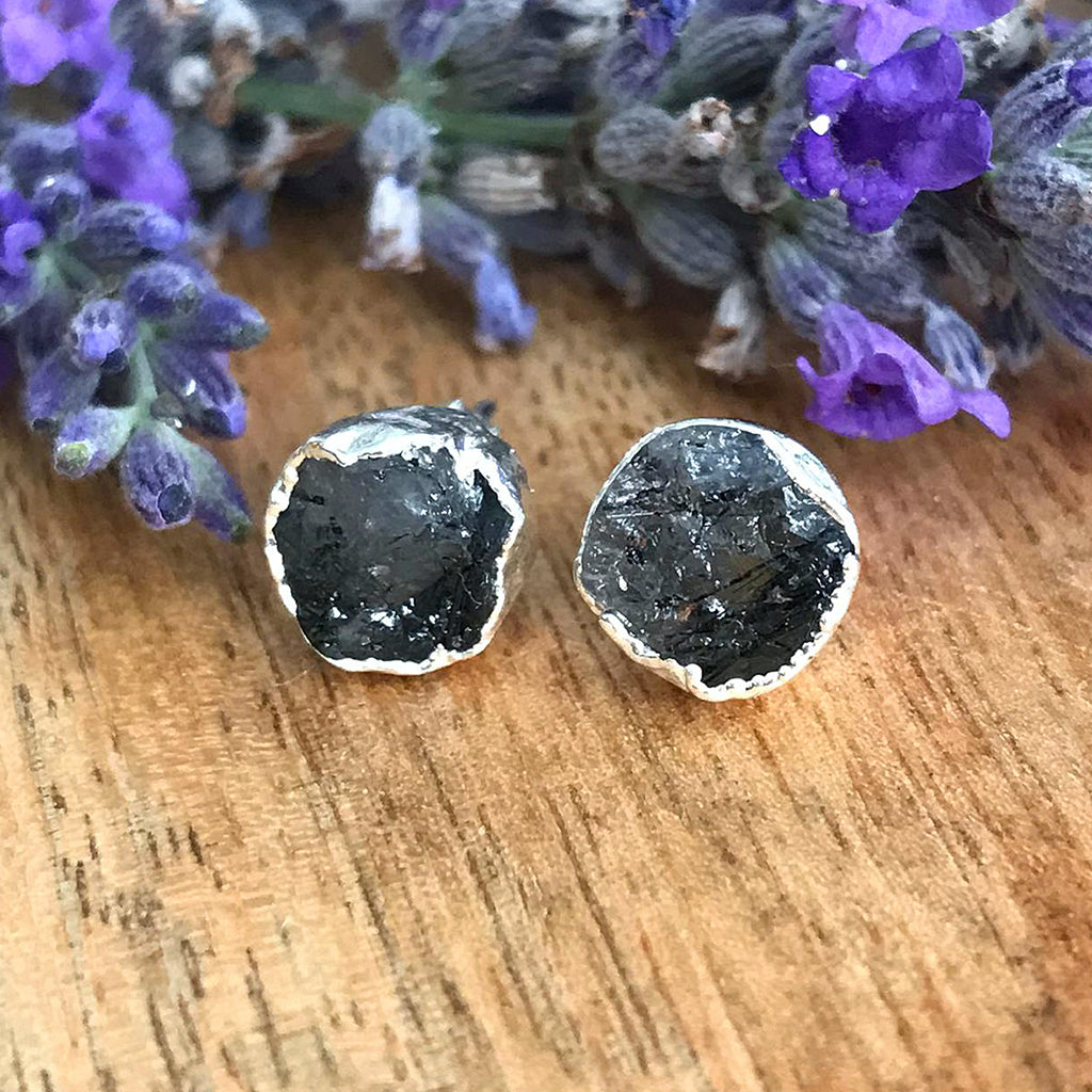 Silver Rutilated Quartz Infinity Stud Earrings