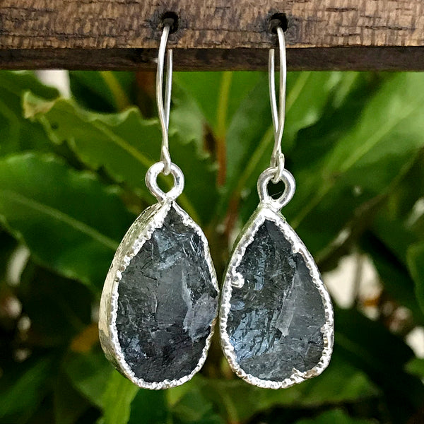 Silver Plate Rutilated Quartz Teardrop Earrings
