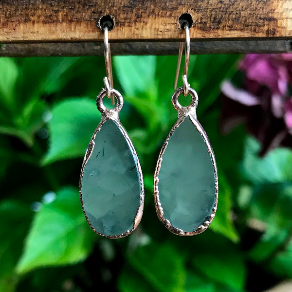 Silver plate Aquamarine teardrop earrings