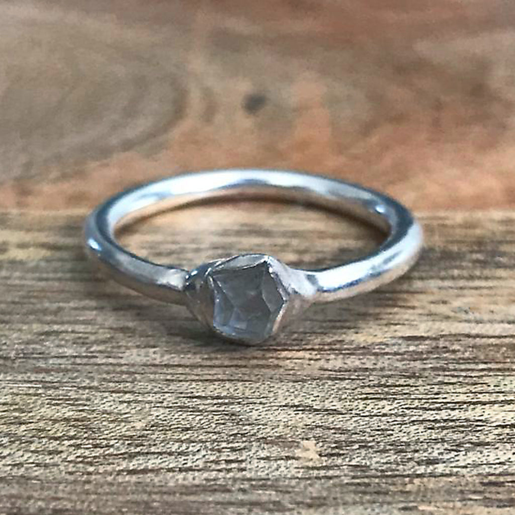 Silver Plate Herkimer Diamond Stacking Ring, UK K 1/2, US 5 1/2