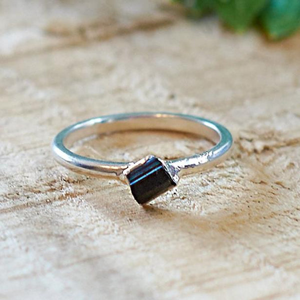 Sterling Silver Plate Black Tourmaline Stacking Ring, Size M 1/2