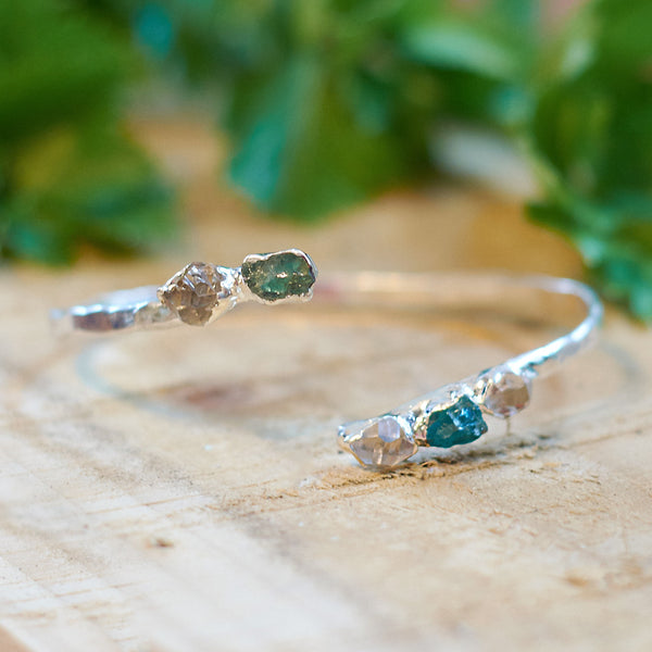 Sterling silver plate Herkimer Diamond & Aquamarine bangle
