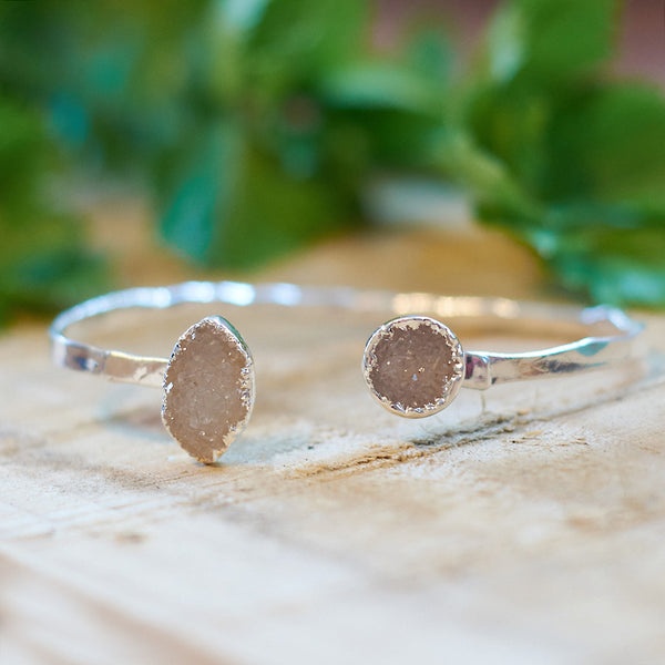 Sterling Silver Plate Druzy Bangle