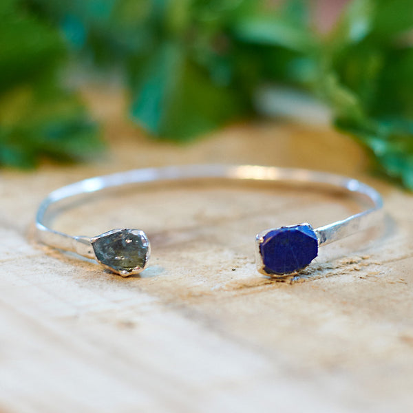Sterling silver plate aquamarine and lapis lazuli bangle