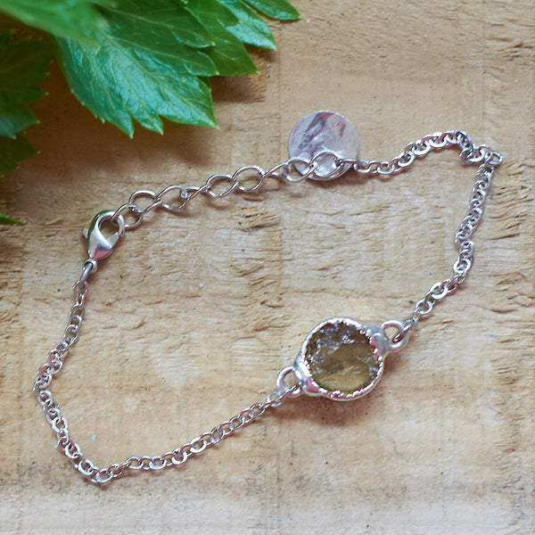 Sterling Silver Plate Lemon Quartz Bracelet