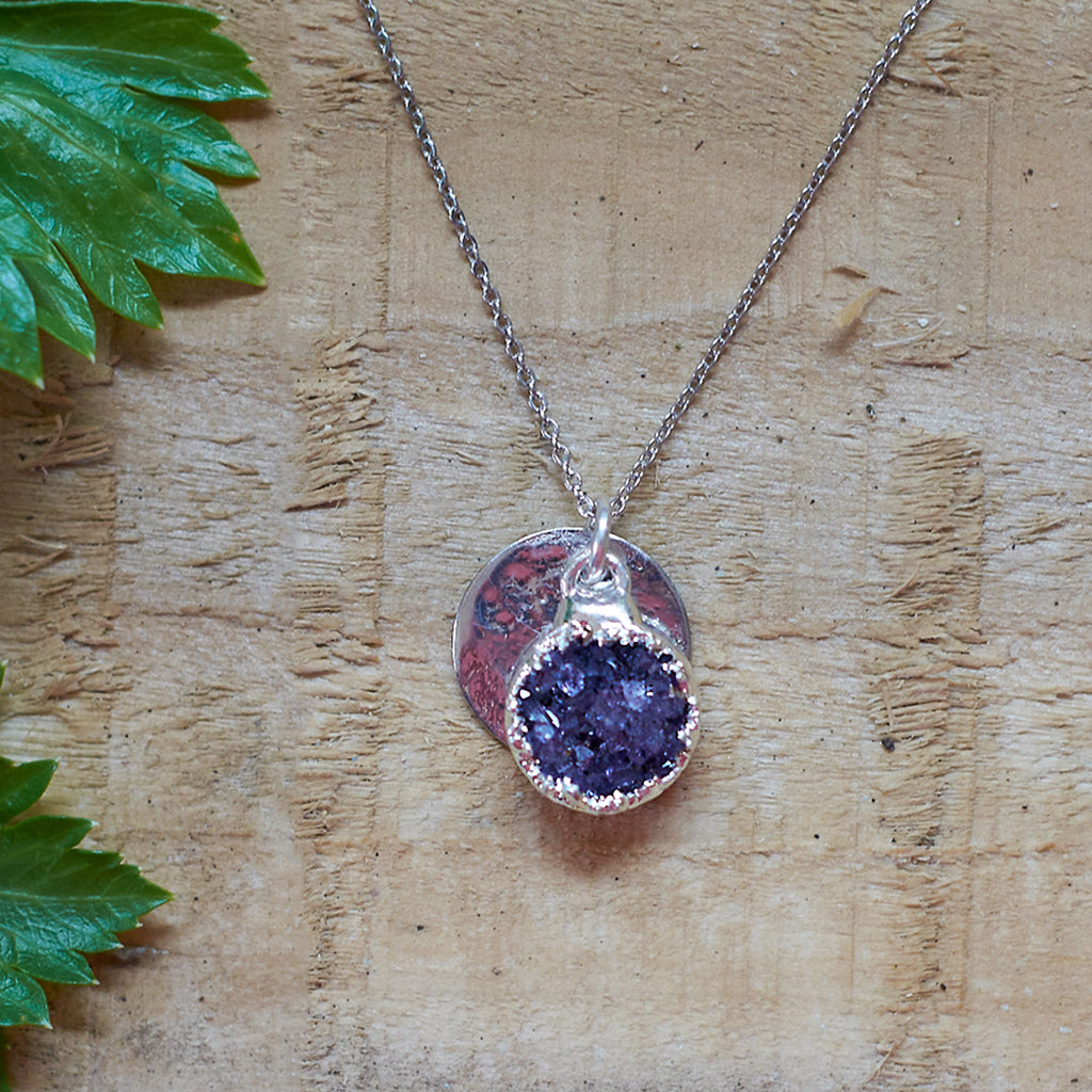 Silver Plate Amethyst Pendant