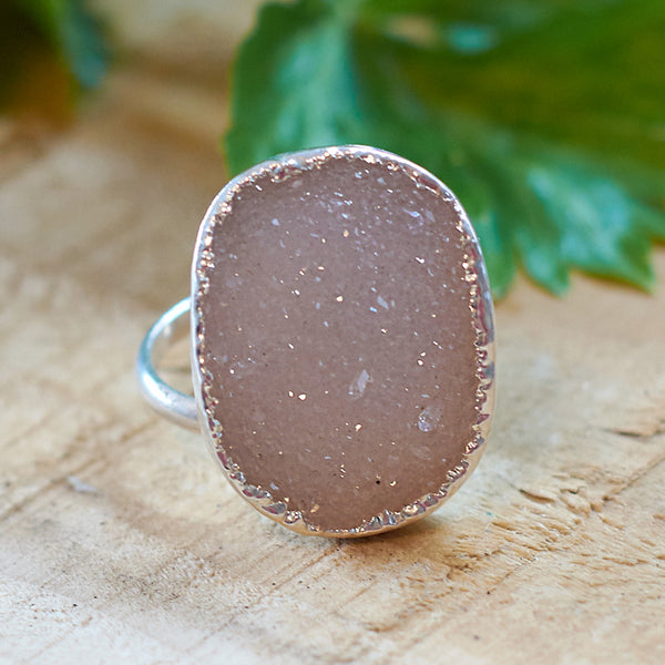 Sterling silver plate druzy adjustable ring