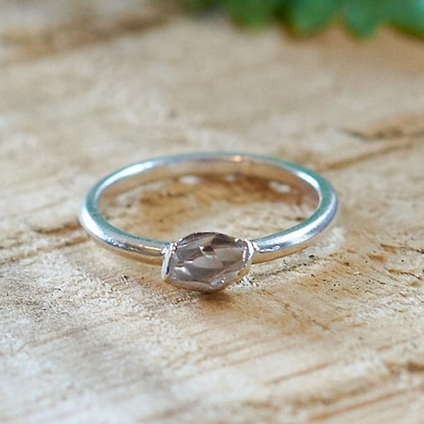 Sterling Silver Plate Herkimer Diamond Stacking Ring, Size K 1/2