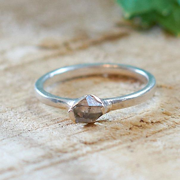 Sterling Silver Plate Herkimer Diamond Stacking Ring, Size O 1/2