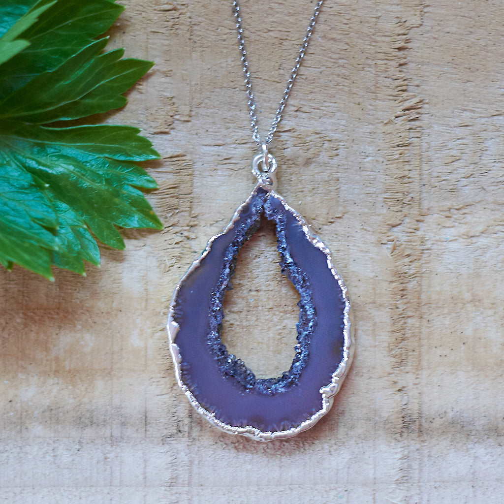 Silver Plate Agate Geode Pendant