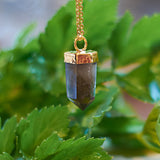 Gold Plate Smoky Quartz Pendant