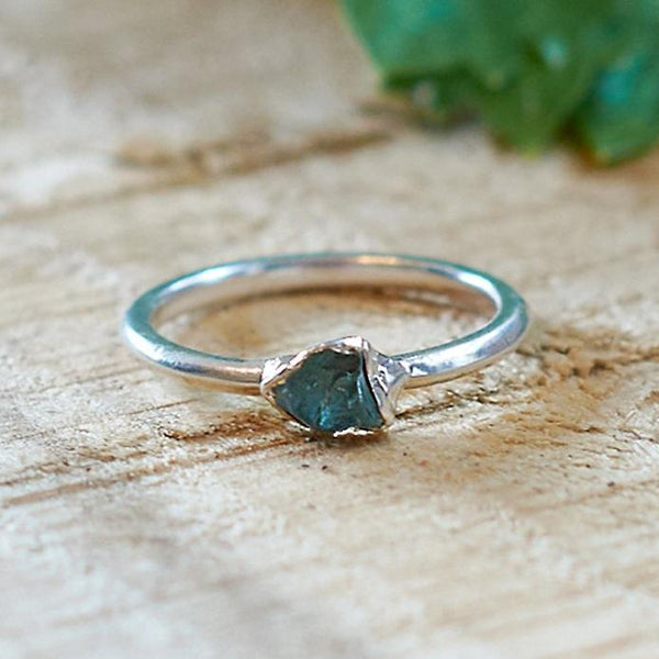 Sterling Silver Plate Aquamarine Stacking Ring, Size O
