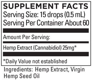 KR Broad Spectrum Hemp Extract 25+mg/serving 1 OZ (30mL)