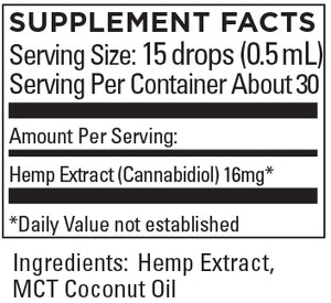 KR Broad Spectrum Hemp Extract 16+mg/serving .5 FL OZ (15mL) BLENDED WITH MCT COCONUT OIL