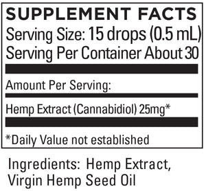 KR Broad Spectrum Hemp Extract 25+mg/serving .5 OZ (15mL)