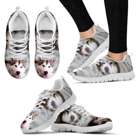 Canadian Eskimo Print Running Shoes For Women (White/Black)- Express Shipping-Paww-Printz-Merchandise