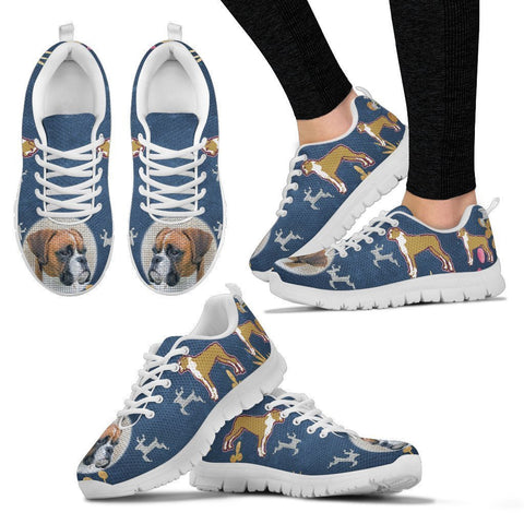 Boxer Christmas Running Shoes For Women- Free Shipping-Paww-Printz-Merchandise