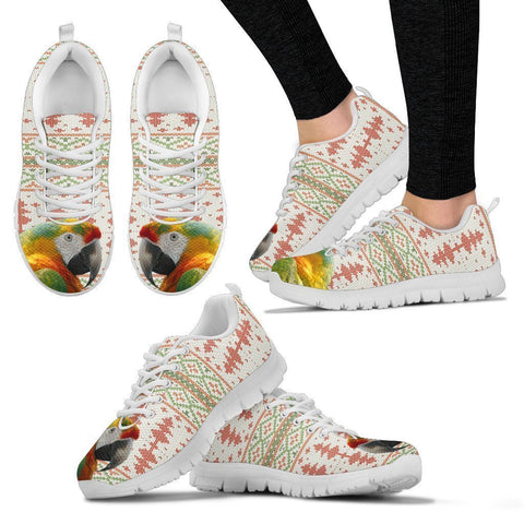 Yellow and Green Macaw Parrot Print Christmas Running Shoes For Women-Free Shipping-Paww-Printz-Merchandise