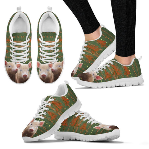 Mulefoot Pig Print Christmas Running Shoes For Women-Free Shipping-Paww-Printz-Merchandise