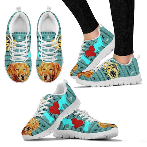 Golden Retriever Print Christmas Running Shoes For Women-Free Shipping-Paww-Printz-Merchandise