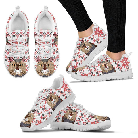 Maine coon Cat Christmas Print Running Shoes For Women-Free Shipping-Paww-Printz-Merchandise