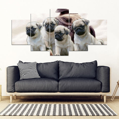 Cute Pug Puppies 5 Piece Framed Canvas- Free Shipping-Paww-Printz-Merchandise