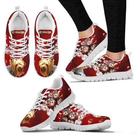 Yorkie On Red-Women's Running Shoes-Free Shipping-Paww-Printz-Merchandise