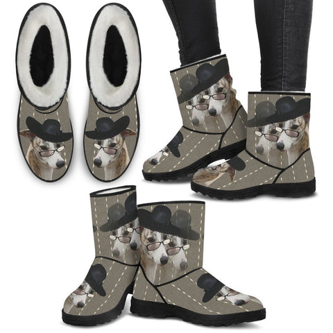 Whippet Print Faux Fur Boots For Women-Free Shipping-Paww-Printz-Merchandise