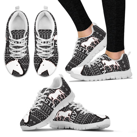 Belgian Warmblood Horse Christmas Running Shoes For Women- Free Shipping-Paww-Printz-Merchandise