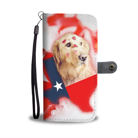 Golden Retriever On Red Print Wallet Case- Free Shipping-TX State