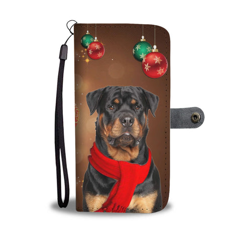 Rottweiler Dog On Christmas Print Wallet Case-Free Shipping