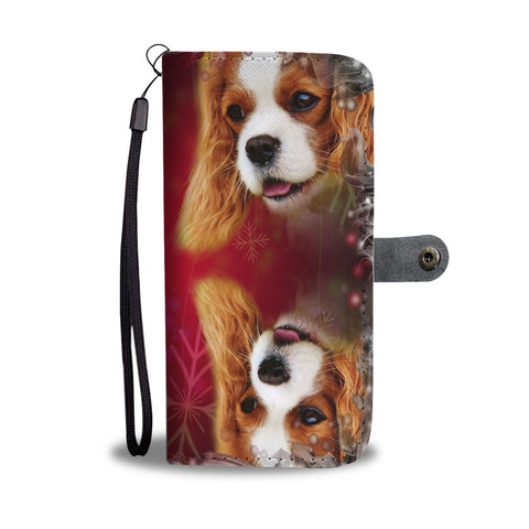 Cavalier King Charles Spaniel Dog Christmas Print Wallet Case-Free Shipping