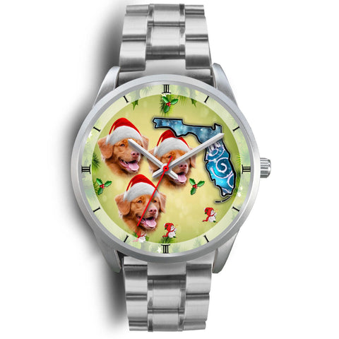 Nova Scotia Duck Tolling Retriever On Christmas Florida Silver Wrist Watch-Free Shipping