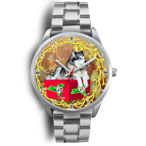 Lovely Alaskan Malamute Dog New York Christmas Special Wrist Watch-Free Shipping