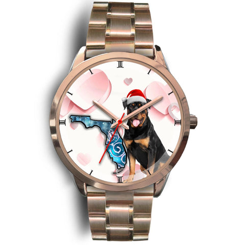 Rottweiler Dog On Christmas Florida Golden Wrist Watch-Free Shipping