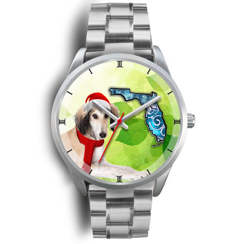 Saluki Dog On Christmas Florida Wrist Watch-Free Shipping