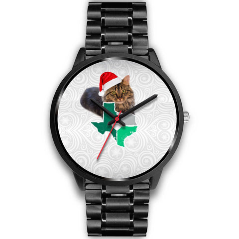Maine Coon Cat Texas Christmas Special Wrist Watch-Free Shipping